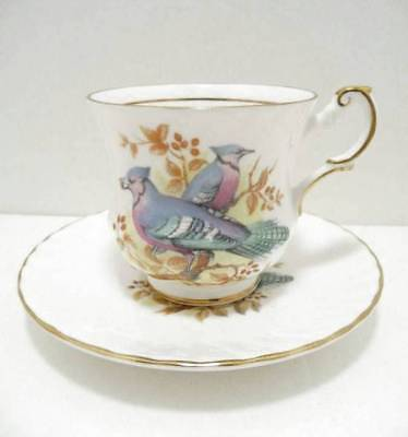VINTAGE Porcelain Cup and Saucer QUEENS FINE BONE CHINA Birds of America Series