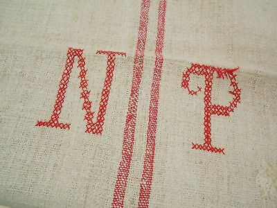 Vtg Antique MONOGRAM N P STRIPE European HEMP LINEN FEED SACK GRAIN BAG 18X45