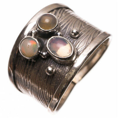 Natural Fire Opal Handmade Vintage 925 Sterling Silver Ring, US Size 9