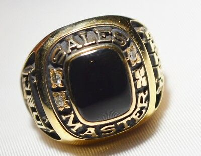 Case Sales Master Ring 10k Yellow Gold Onyx & Diamond Company Service Award HUGE