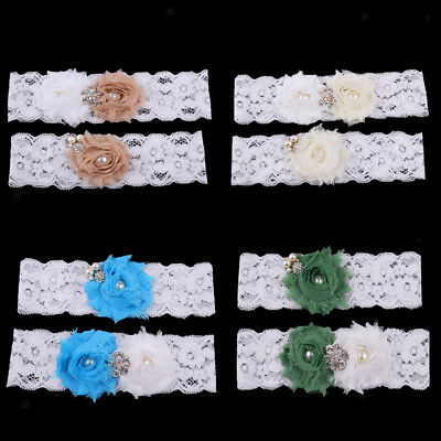 Set of 2pcs Bridal Lace Flower Pearls Crystal Leg Garter Thigh Ring Accessories