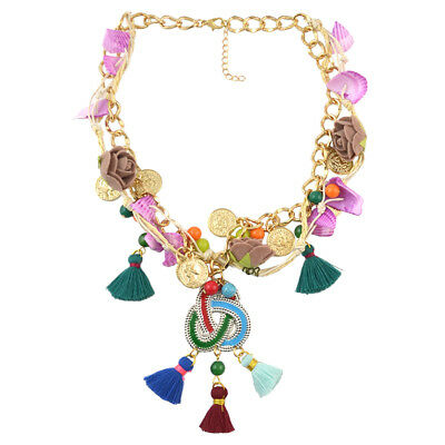 Boho Ethnic Multilayer Flower Coins Tassel Pendant Necklace Sweater Chain