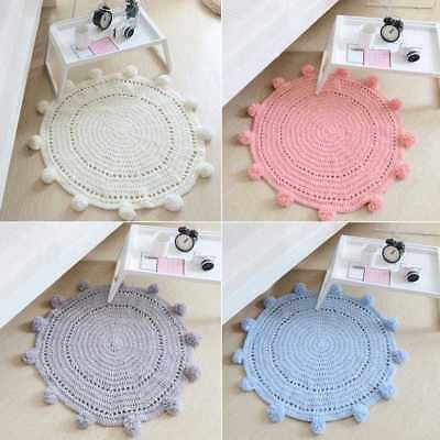 New Baby Kids Soft Round Knitting Rug Game Mat Bedroom Carpet Crawling Bla COP