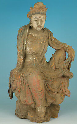 13inch Hight Chinese Old Wood Handmade Carved Buddha Guanyin Statue Figure