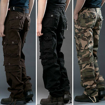 Mens Military Army Camouflage Cargo Combat Combat Work Casual Pants Trousers