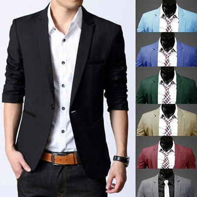 Mens Formal Blazer Suit Jacket Coat Business Casual One Button Slim Fit Wedding