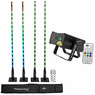 Chauvet DJ FREEDOM STICK PACK 4) DMX Light Array Fixtures+D-Fi+Remote+Case+Laser