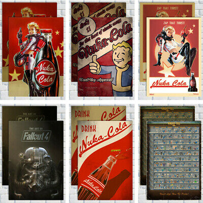 "hot game FALLOUT 4 poster printing 60x40cm 23.7""x15"" throwback style nuka BEER"