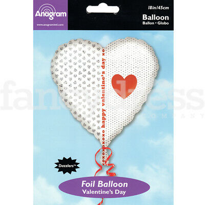 "18"" Foil Balloon Love Heart Happy Valentine Wedding Engagement Air/Helium Fill"