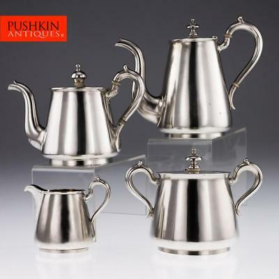ANTIQUE 19thC IMPERIAL RUSSIAN SOLID SILVER MATCHED 4PS TEA & COFFEE SET c1872-9