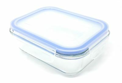 2 X Freezer To Oven Safe 600Ml Glass Storage Container With Bpa Free Clip Lid