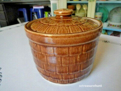 Vintage Old USA Pottery Stoneware Covered Crock Jar Butter Tub Shingle Pattern