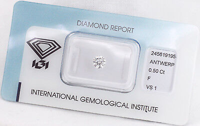 Diamant 0,50ct F VS1 IGI Zertifikat - Laserscribe and Sealed -