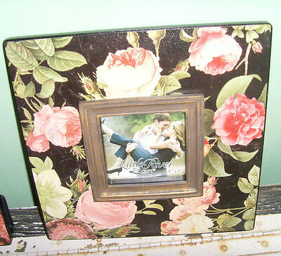 "Stunning pink roses on black picture frame photo frame holder 4x4"" easel back"