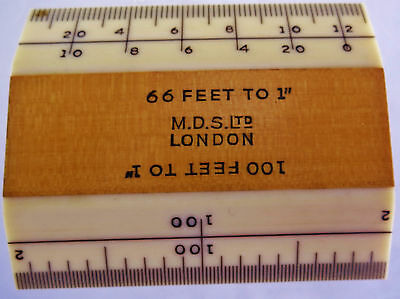 """M.D.S Ltd London Vintage 2"""" Scale Ruler (100' to 1"""" & 66' to 1"""")"""