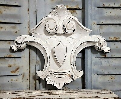 Shabby Romantic Painted Hand Carved Wood Pediment Antique French Coat Of Arms 1