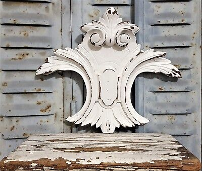 Shabby Romantic Painted Hand Carved Wood Pediment Antique French Coat Of Arms 2