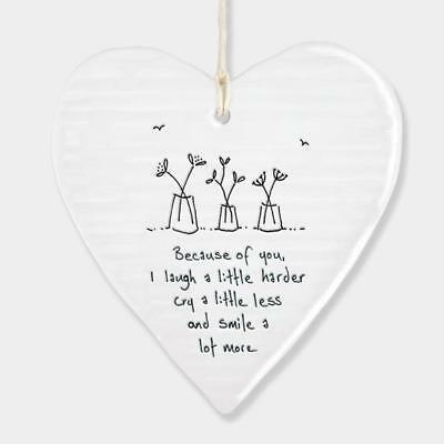 East Of India Hanging Heart Sentiment Gift Because Of You 6200-EOI