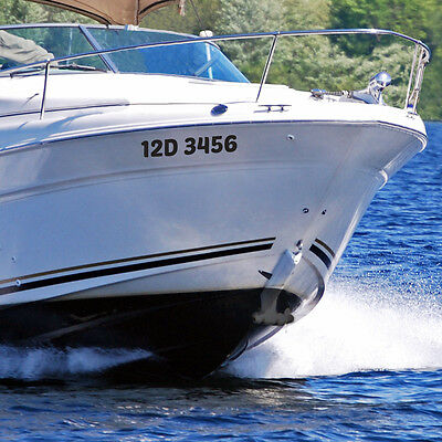 """(2) 20"""" Custom Made Boat Registration Numbers Decals Canadian and US Legal Sizes"""