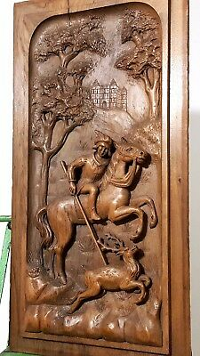 Hand Carved Wood Panel Antique French Hunt Gothic Figure Architectural Salvage