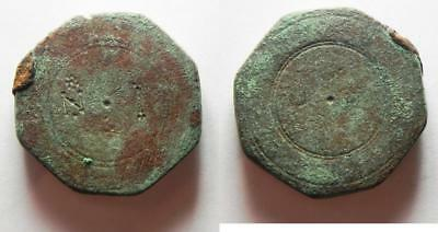 "ZURQIEH -as2189- BYZANTINE. LARGE BRONZE WEIGHT OF 10 NUMISMATA. 41.73GM ""NI"""