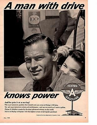 1960 Flying A Gasoline ~ Original Tidewater Oil Co Ad