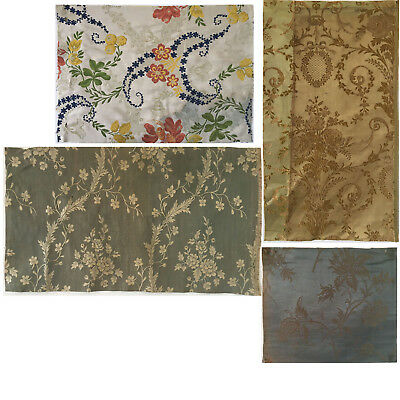 Beautiful 19th C. French Silk Jacquard Woven Fabrics- 4 pieces  (2207 )