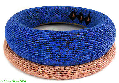 Ndebele Beaded Collar Ring Pink  Blue Necklace South Africa SALE WAS $295