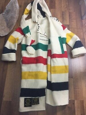Northwest Traders Mens L Womens 2X Wool Blanket Coat Striped Robe England