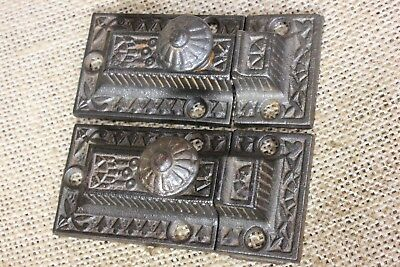 """2 Cabinet catches Cupboard 3"""" Latches cast iron knob old vintage 1800's Windsor"""