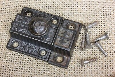 "Cabinet catch jelly Cupboard Latch cast iron knob old 1 5/8"" rustic vintage"