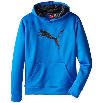 Puma Long Sleeve Fleece Pullover Kids Hoodie Blue Thumb Holes Pocket Sweatshirt