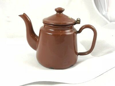 Antique Germany Brown Enamel Miniature Coffee or Teapot Possibly Child's Toy