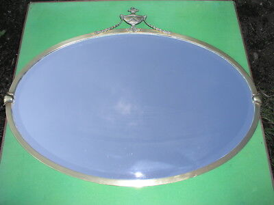 Antique Brass Frame Bevelled Glass Oval Wall Mirror c1900