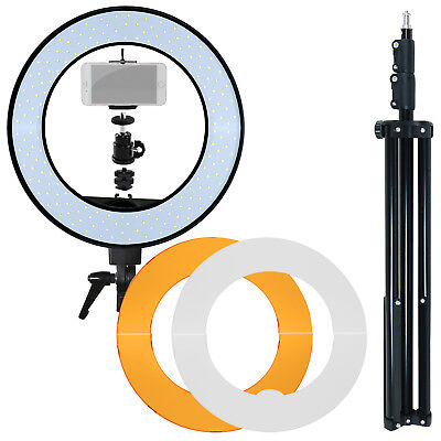 Photo Studio Dimmable LED Ring Light with Filters, Phone Holder Mount, Stands