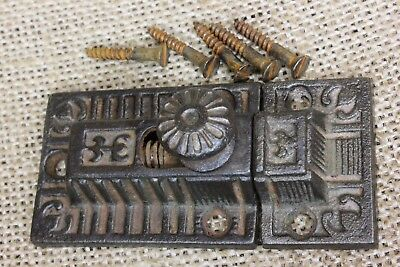 Cabinet catch Cupboard old Latch cast iron knob rustic vintage 1800's antique
