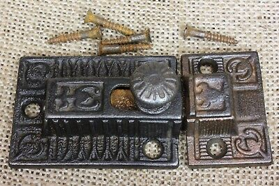 Cabinet catch Cupboard old Latch cast iron knob rustic vintage 1800's 3 1/4""