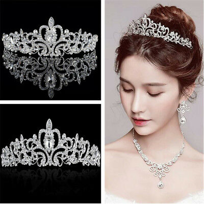 Hot Wedding Bride Crown Headwear Shiny Rhinestone Tiaras Head Pin Hair Jewelry