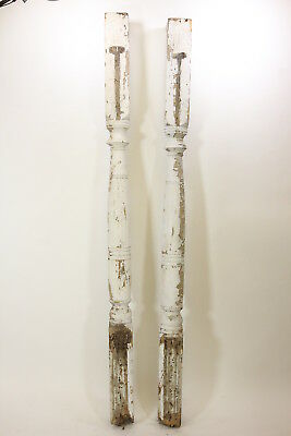 "2 Matching 97"" Tall Antique Porch Posts Architectural Salvage Primitive Rustic"
