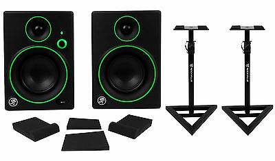 "Pair Mackie CR4BT 4"" Studio Monitors/Computer Speakers w/ Bluetooth+Stands+Pads"