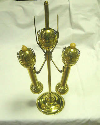 Antique Decorative Collectible Brass Student Double Desk Lamp Candle Holder