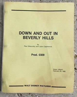 Down & Out in Beverly Hills Orig 1985 Final Draft Script Nick Nolte Bette Midler