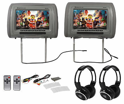"Rockville RHP91-BR 9"" Digital Panel Gray Headrest Monitors+Wireless Headphones"