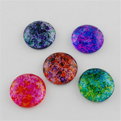 10 Pcs Half Round Dome Transparent Spray Painted Glass Cabochons 25x6.5~7.5mm