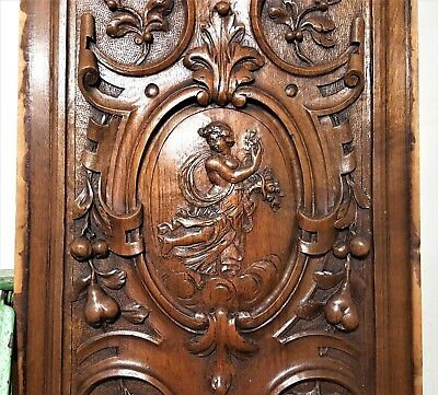 Hand Carved Wood Panel Antique French Gothic Fortune Wealth Lady Figure Carving