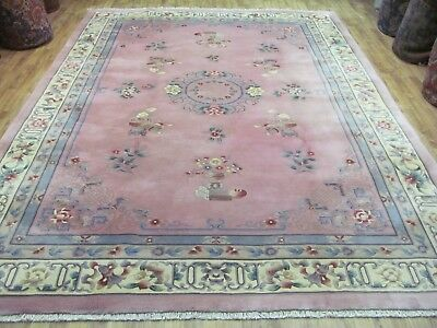 A WONDERFUL OLD HANDMADE CHINESE ORIENTAL CARPET (395 x 340 cm)