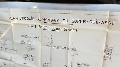 Vintage French cruiser Jean Bart 7 feet long Print Blueprint Plan