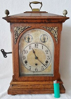 Antique Clock Mantel German 8 Day Oak BIG 46cm Pendulum Key Silent Mode
