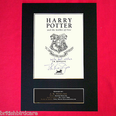 J K ROWLING harry potter Autograph Mounted Photo Reproduction PRINT A4 412