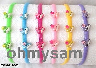 """6 New Pastel Multi Color Plastic Thin Hard Headband / Comb / Butterfly / 1/4 """" A"""